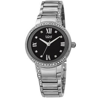 Burgi Ladies Swarovski Crystal Mother of Pearl Silver-tone Bracelet Watch with FREE Bangle