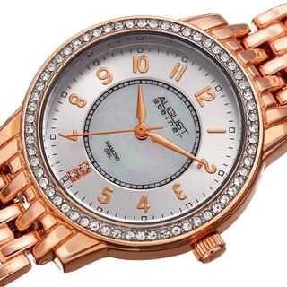 August Steiner Diamond Mother of Pearl Crystal Rose-tone Bracelet Watch