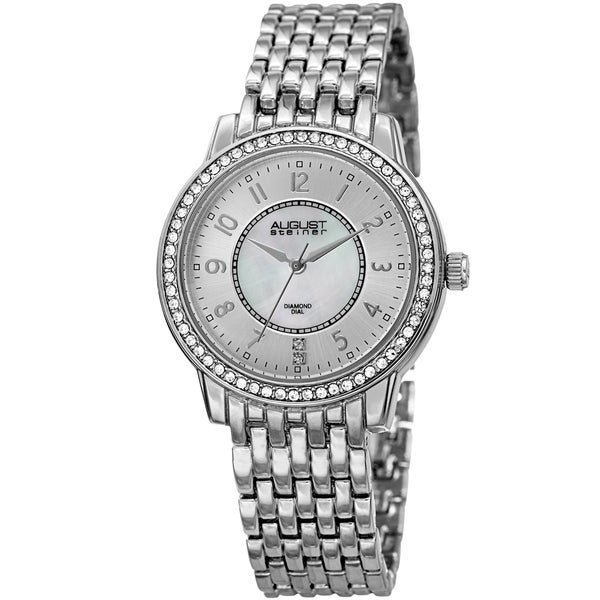 August Steiner Diamond Mother of Pearl Crystal Silver-tone Bracelet Watch