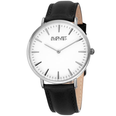 August Steiner Ladies Classic Boyfriend Style Black Leather Strap Watch