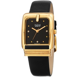 Burgi Ladies Diamond Buckle Case Black Leather Strap Watch with FREE Bangle