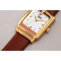 Burgi Ladies Diamond Buckle Case Brown Leather Strap Watch