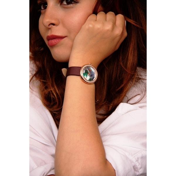 Burgi Ladies Koi Pond Crystal Brown Leather Strap Watch with FREE Bangle