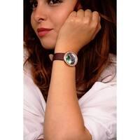 Burgi Ladies Koi Pond Crystal Brown Leather Strap Watch