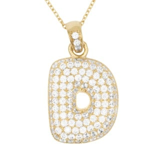 14k Gold Large 3D Letter D Initial with Micro Pave Cubic Zirconia Stones Pendant Necklace