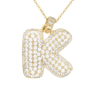10k Gold Large 3D Letter K Initial With Micro Pave Cubic Zirconia Stones Pendant Necklace