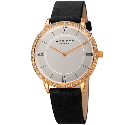 Akribos XXIV Ladies Classic Crystal Easy-to-Read Black Leather Strap Watch