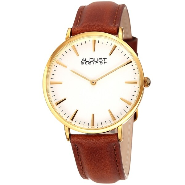 August Steiner Ladies Classic Boyfriend Style Brown Leather Strap Watch
