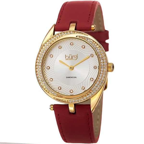 Burgi Ladies Diamond Crystal Swirl Red Leather Strap Watch. Opens flyout.