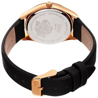 Burgi Ladies Diamond Glitter Rose Floral Black Leather Strap Watch with FREE Bangle