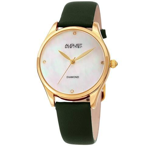 August Steiner Ladies Classic Diamond Green Leather Strap Watch