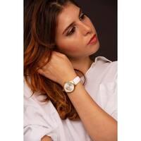 Burgi Ladies Sparkling Floral White Leather Strap Watch