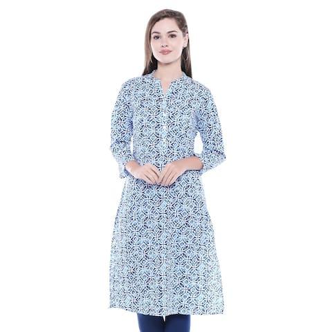 7653c09479 In-Sattva Women's Indian Summer Collection Aqua Blue Printed Kurta Tunic