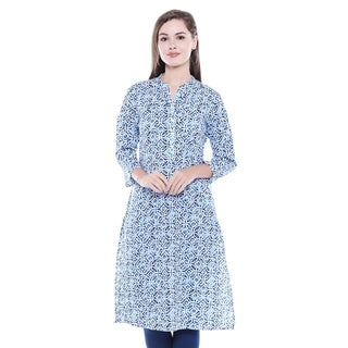 In-Sattva Women's Indian Summer Collection Aqua Blue Printed Kurta Tunic