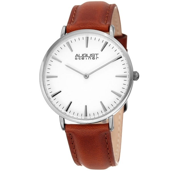 August Steiner Ladies Classic Boyfriend Style Brown Leather Strap Watch with FREE Bangle