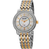 August Steiner Diamond Mother of Pearl Crystal Two-tone Bracelet Watch