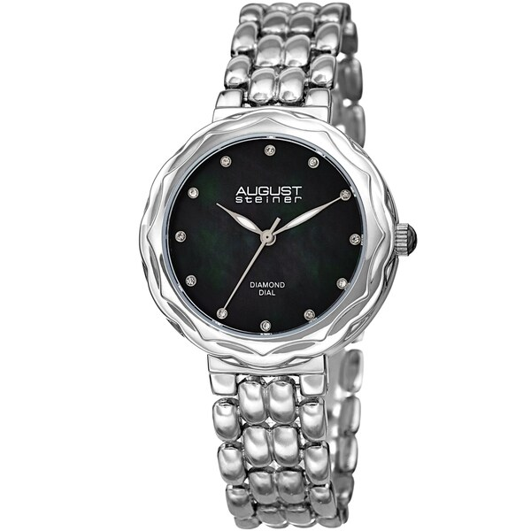 August Steiner Ladies Diamond Black Mother of Pearl Bracelet Watch