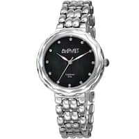August Steiner Ladies Diamond Black Mother of Pearl Bracelet Watch with FREE Bangle