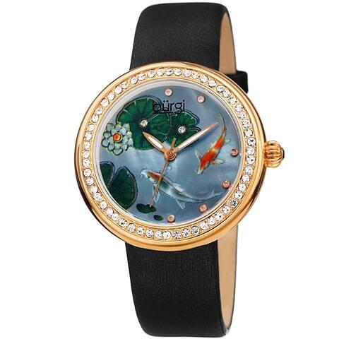 Burgi Ladies Koi Pond Crystal Black Leather Strap Watch