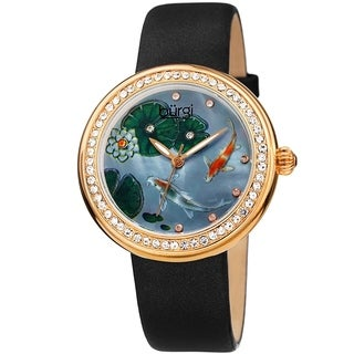 Burgi Ladies Koi Pond Crystal Black Leather Strap Watch