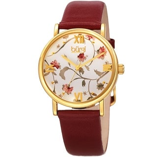 Burgi Ladies Floral Autumn Red Wine Leather Strap Watch