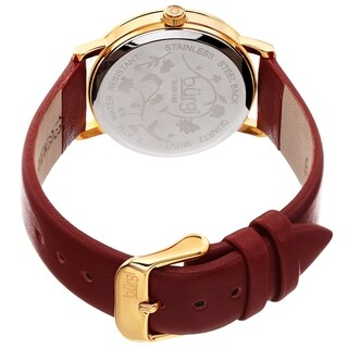 Burgi Ladies Floral Autumn Red Wine Leather Strap Watch