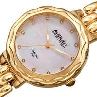 August Steiner Ladies Diamond Mother of Pearl Gold-tone Bracelet Watch