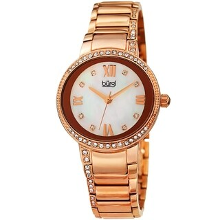 Burgi Ladies Swarovski Crystal Mother of Pearl Rose-tone Bracelet Watch with FREE Bangle