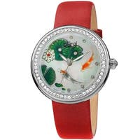 Burgi Ladies Koi Pond Crystal Red Leather Strap Watch with FREE Bangle