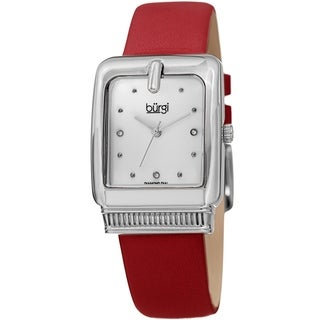 Burgi Ladies Diamond Buckle Case Red Leather Strap Watch