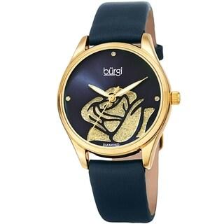 Burgi Ladies Diamond Glitter Rose Floral Blue Leather Strap Watch