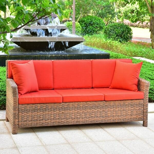 International Caravan Pandan Resin Wicker Outdoor Sofa With Cushions