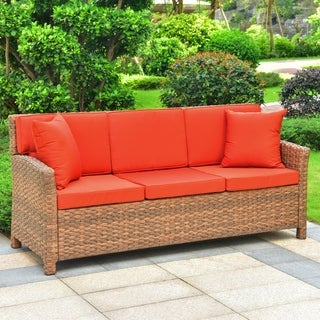 International Caravan Pandan Resin Wicker Outdoor Sofa with Cushions