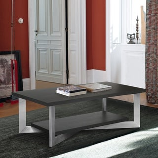 Armen Living Vermont Brushed Stainless Steel with Grey Wood Top Contemporary Coffee Table