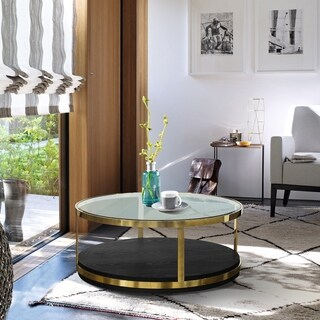 Armen Living Hattie Contemporary Gold/Black Wood Coffee Table