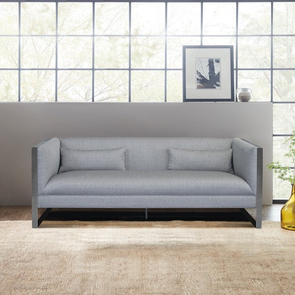 Beau Armen Living Royce Contemporary Sofa With Polished Stainless Steel And Grey  Fabric