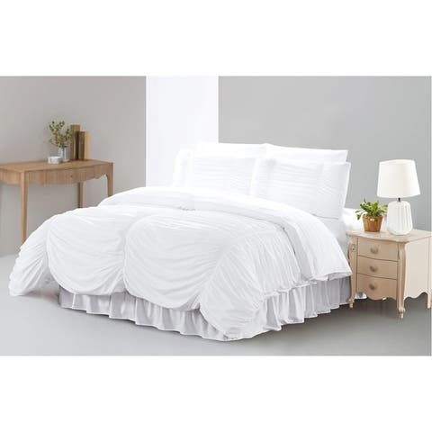 Hypoallergenic Romantic Ruched 8 Piece Comforter Sets