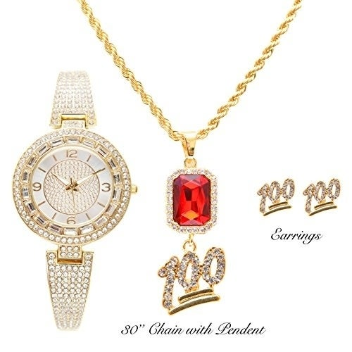Shop Bling Bling Gold Designer Ladies Rhinestone Watch With Keep It