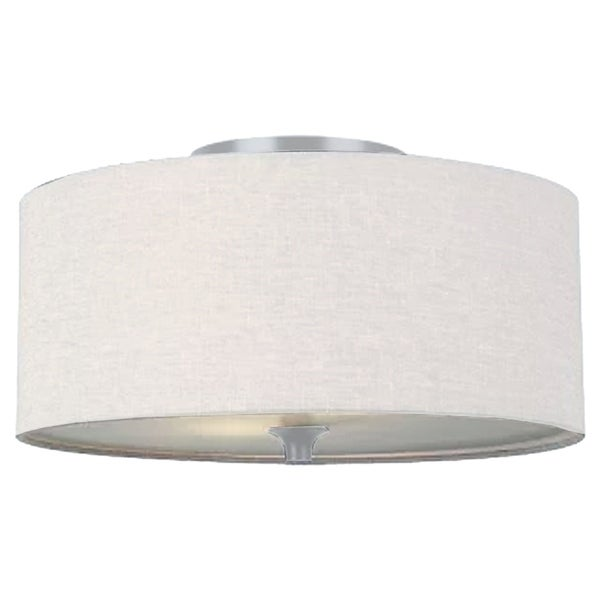 Homeselects 7009 Essential Drum Pendant Light Off White Cloth