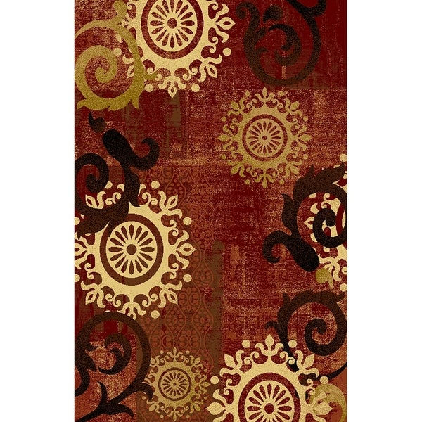 Maxy Home Istanbul Contemporary Medallion Burgundy 2 ft. 7 in x 4 ft. Area Rug - 2'7 x 4'0