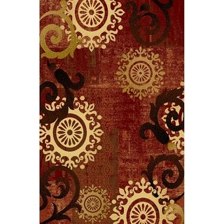 Maxy Home Istanbul Contemporary Medallion Burgundy 2 ft. 7 in x 4 ft. Area Rug - multi - 2'7 x 4'0