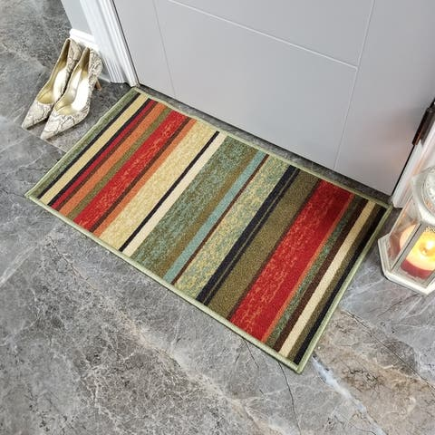 """Maxy Home Hamam Stripes Multicolor 1 ft. 6 in. x 2 ft. 7 in. Rubber Backed Door Mat - multi - 1'6"""" x 2'6"""""""