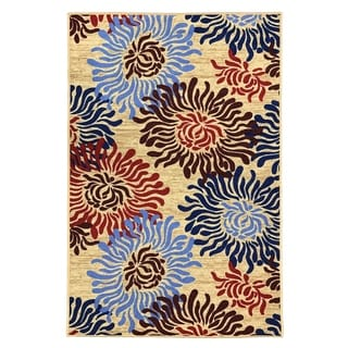 """Maxy Home Alya Heaven Flowers Trendy Multi Colored 18 in. x 31 in. Non Skid Rubber Backed Door Mat - 1'6"""" x 2'6"""""""