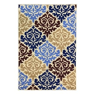 "Maxy Home Alya Queen Damask Trendy Multi Colored 18 in. x 31 in. Non Skid Rubber Backed Door Mat - 1'6"" x 2'6"""