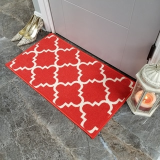"Maxy Home Hamam Moraccan Trellis Orange 1 ft. 6 in. x 2 ft. 7 in. Rubber Backed Door Mat - 1'6"" x 2'6"""