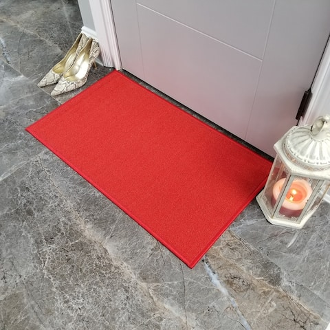 """Maxy Home Hamam Solid Light Red 1 ft. 6 in. x 2 ft. 7 in. Rubber Backed Door Mat - 1'6"""" x 2'6"""""""