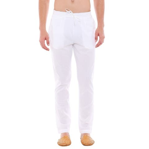 In-Sattva Men's Indian Pure Cotton Solid Straight Cut Pajama Pants