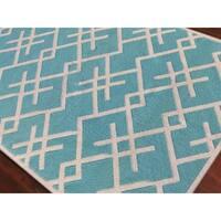 Sonora Handmade Flatweave Geometric Blue Wool Rug - 8' x 10'
