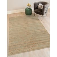 Saratoga Blue Jute and Cotton Handmade Flat-weave Area Rug - 8' x 10'