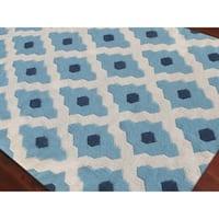 Sonora Handmade Flatweave Trellis Blue Wool Rug - 8' x 10'